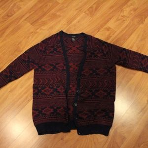 Drak Red and Navy Blue Patterned Sweater